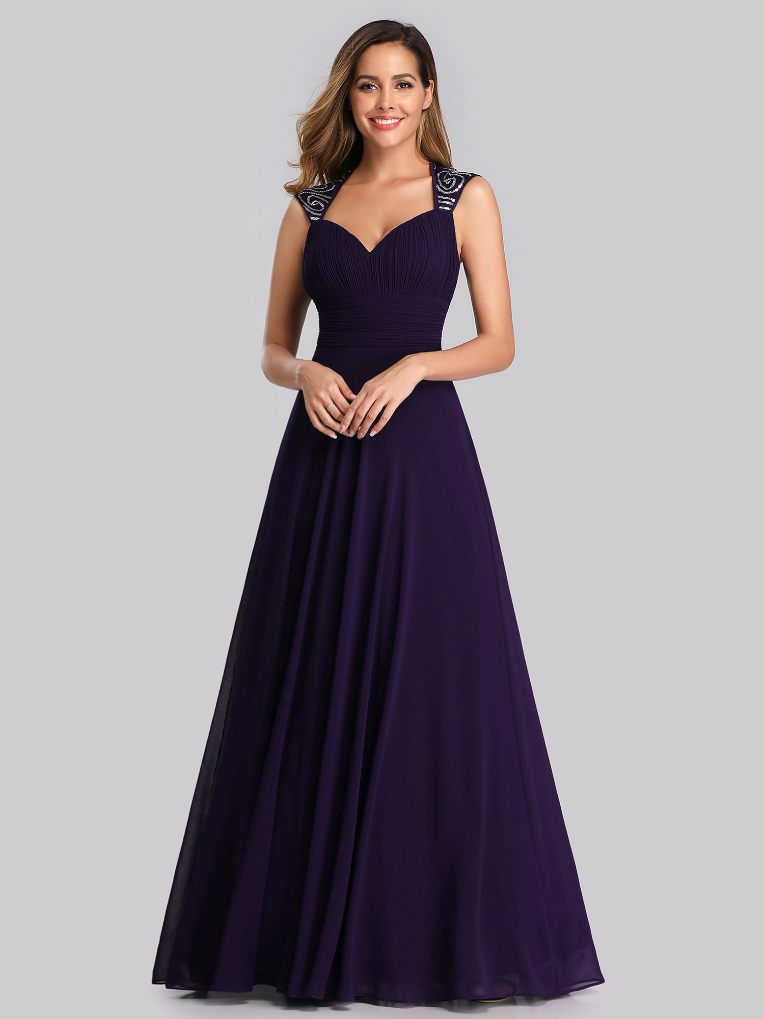 Ever-Pretty Cap Sleeve Bridesmaid Dresses Elegant Long V-neck ...