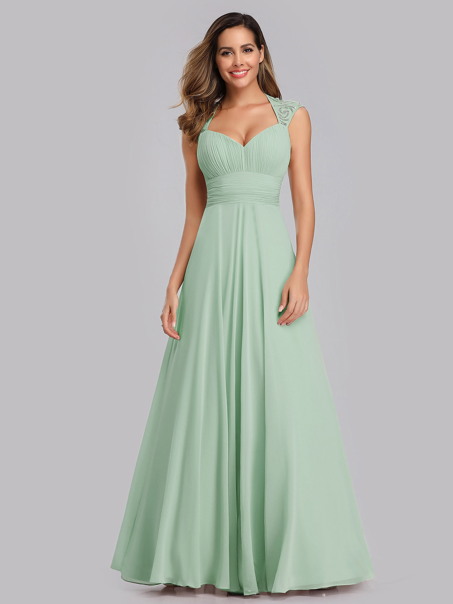 Cap Sleeve Bridesmaid Dress Long V-neck Evening Party Dresses 09672 ...
