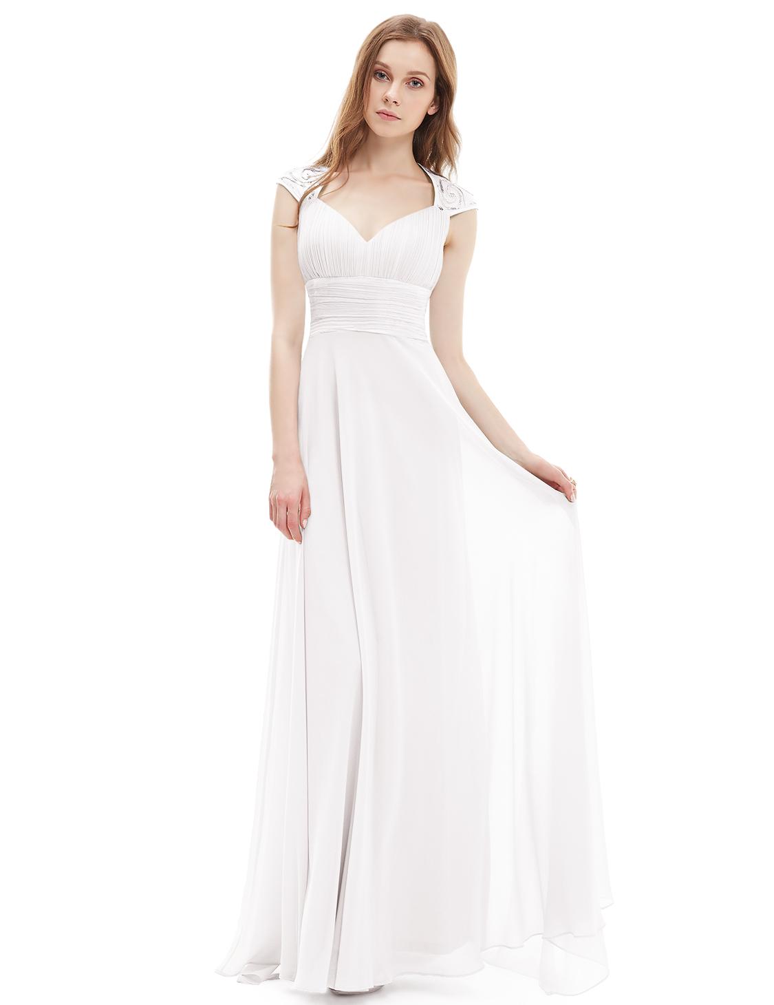 Ever-Pretty Cap Sleeve Bridesmaid Dresses Long V-neck Party Evening ...