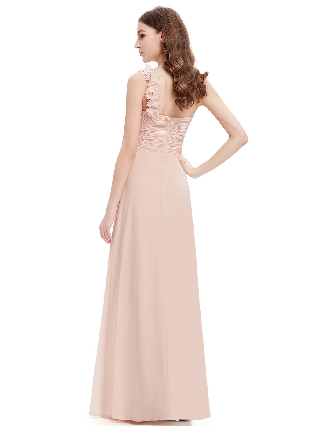 Long Bridesmaids Evening Party Dress Chiffon e shoulder