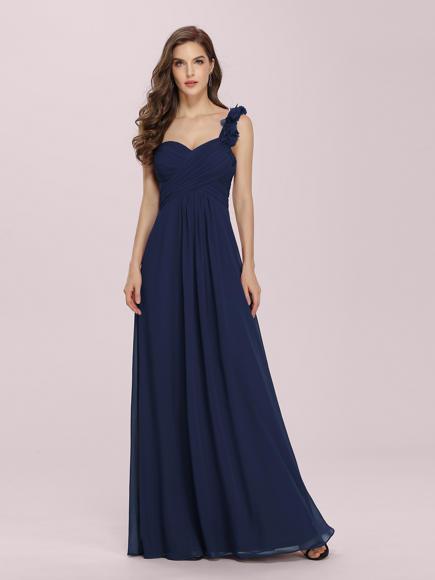 Ever-Pretty US Long Bridesmaid Dresses One-shoulder Navy Blue Formal ...