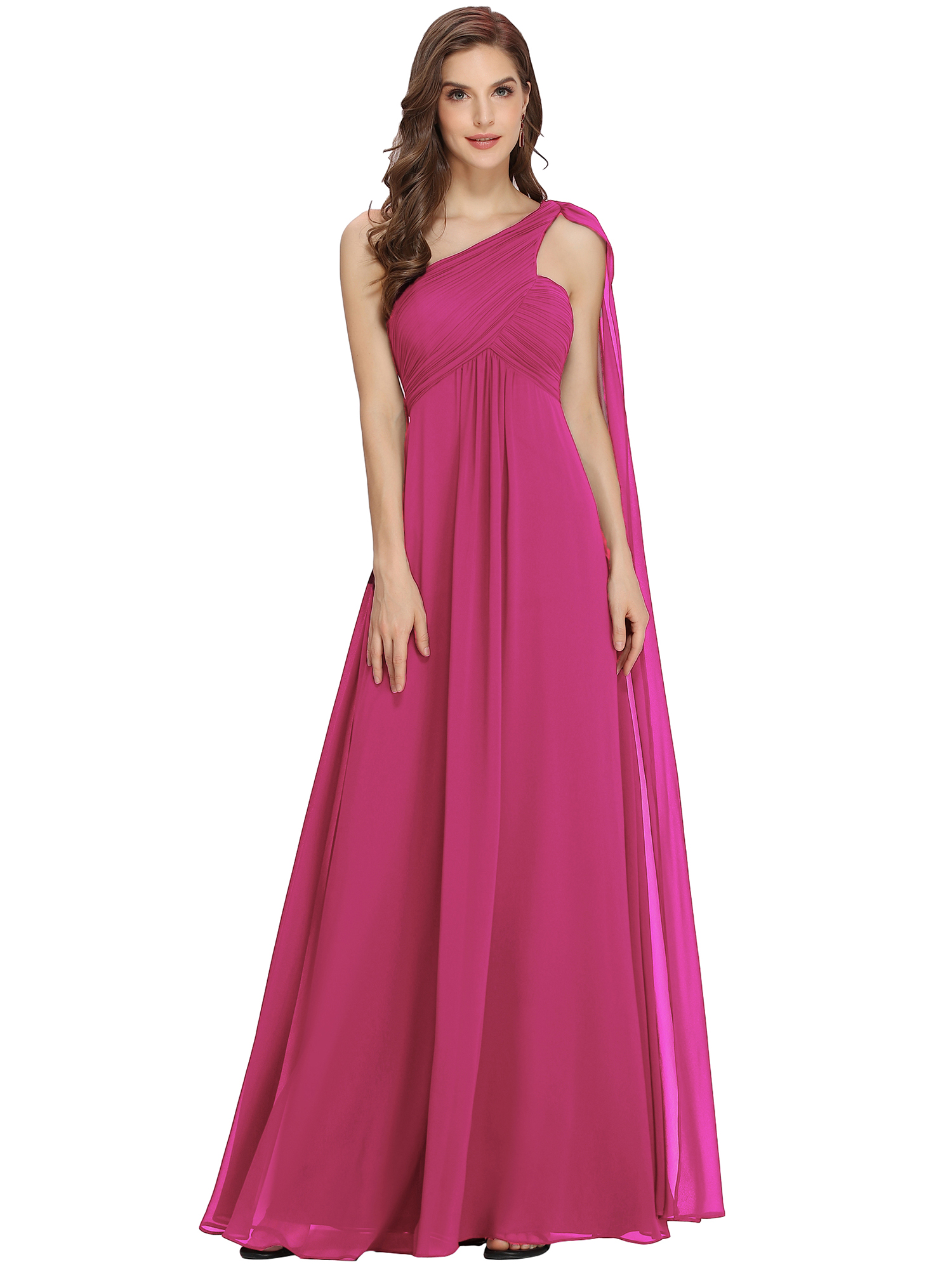 Ever-Pretty One Shoulder Evening Party Prom Ball Gown Bridesmaid ...