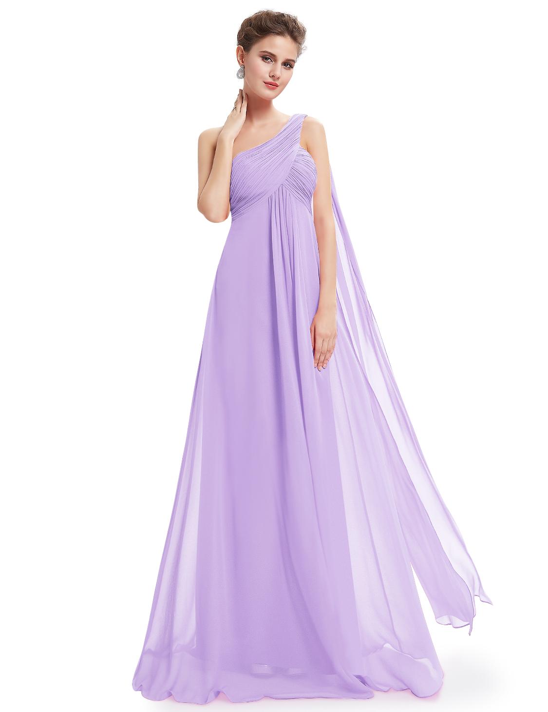 Ever-Pretty Long Chiffon Bridesmaid Dresses Lavender Maxi Evening ...
