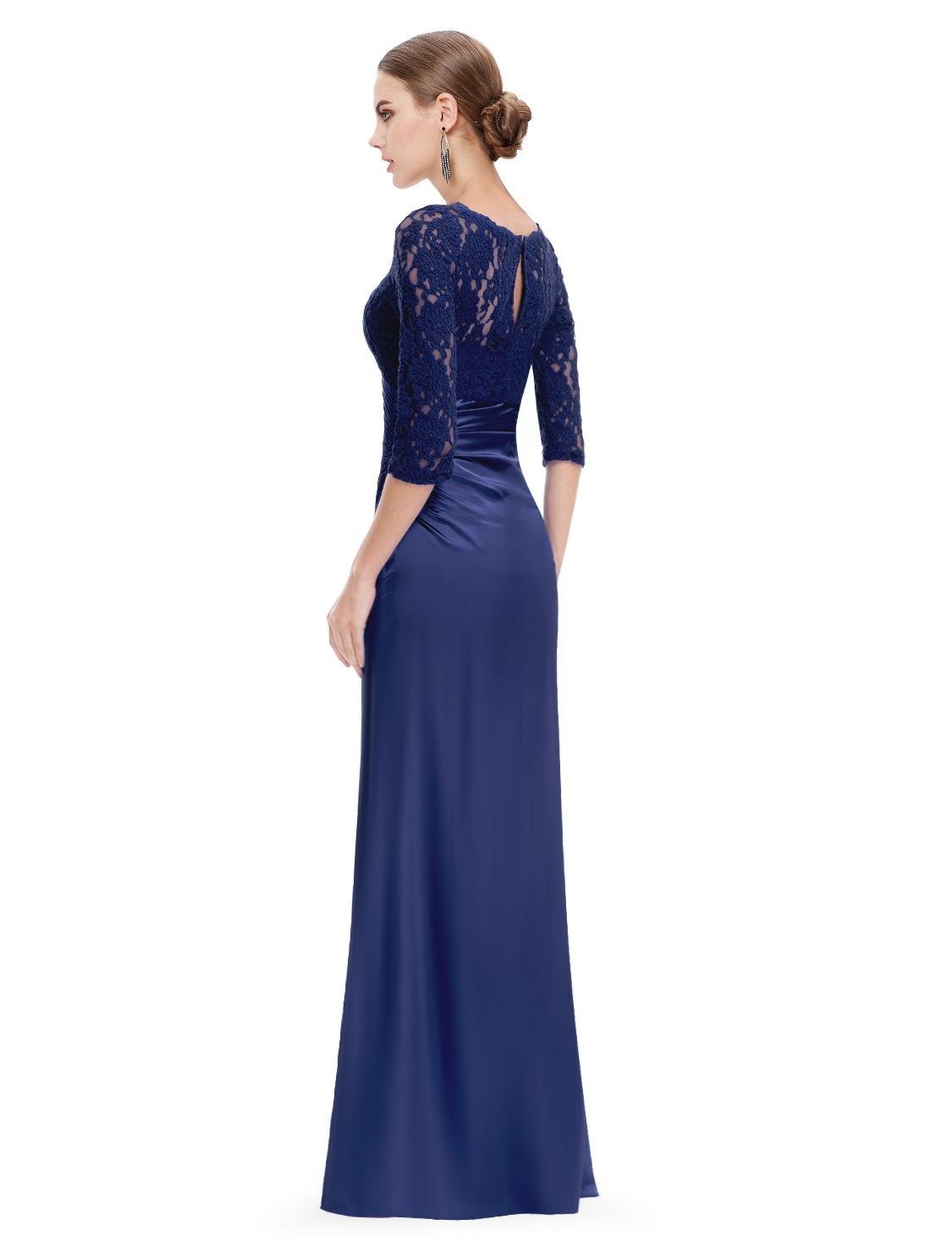 us women 3 4 long sleeve lace long formal evening dress. Black Bedroom Furniture Sets. Home Design Ideas