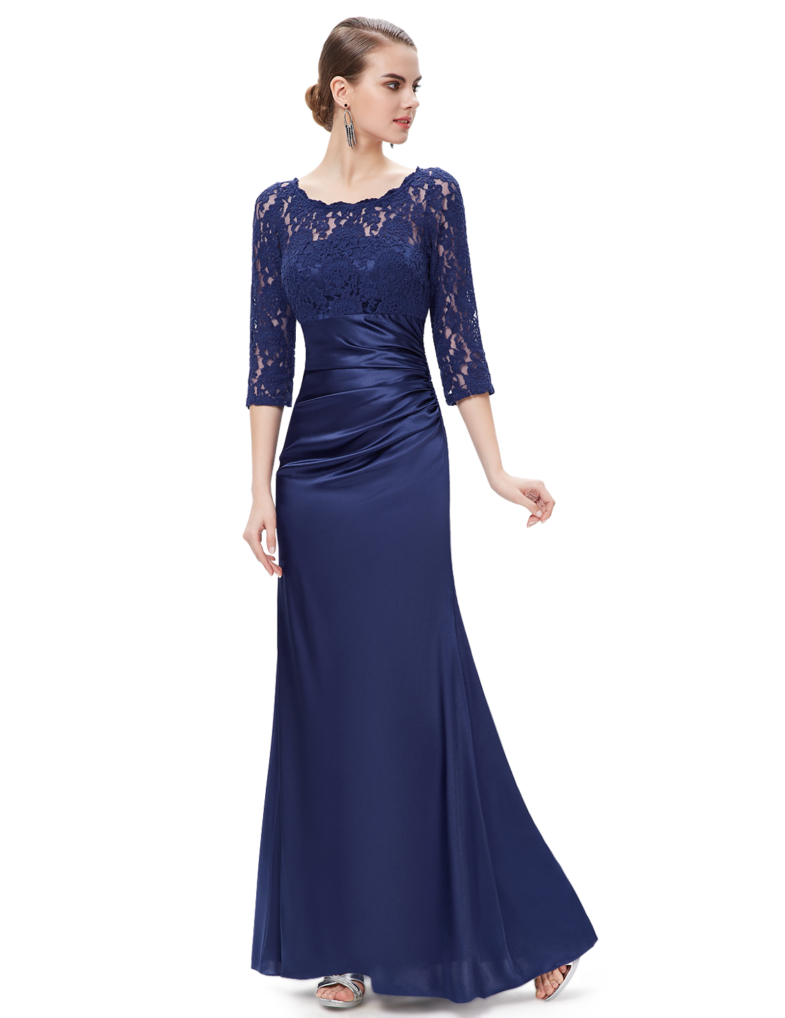 Us Women 34 Long Sleeve Lace Long Formal Evening Dress Party Prom