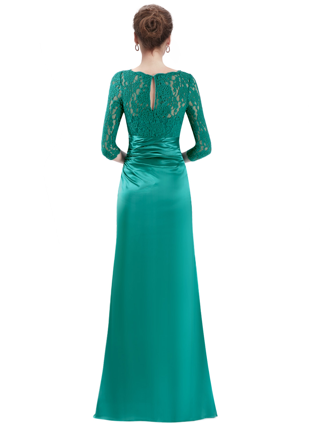 US Women 3/4 Long Sleeve Lace Long Formal Evening Dress Party Prom ...
