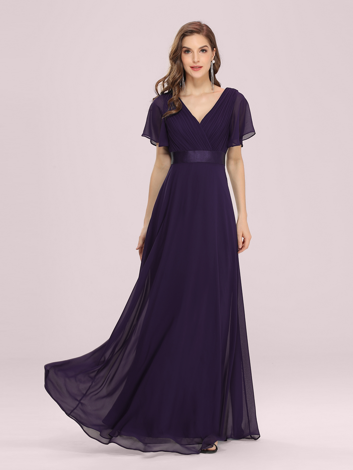 US Long Maxi Party Dresses Dark Purple Maternity Evening Gown 09890 ...