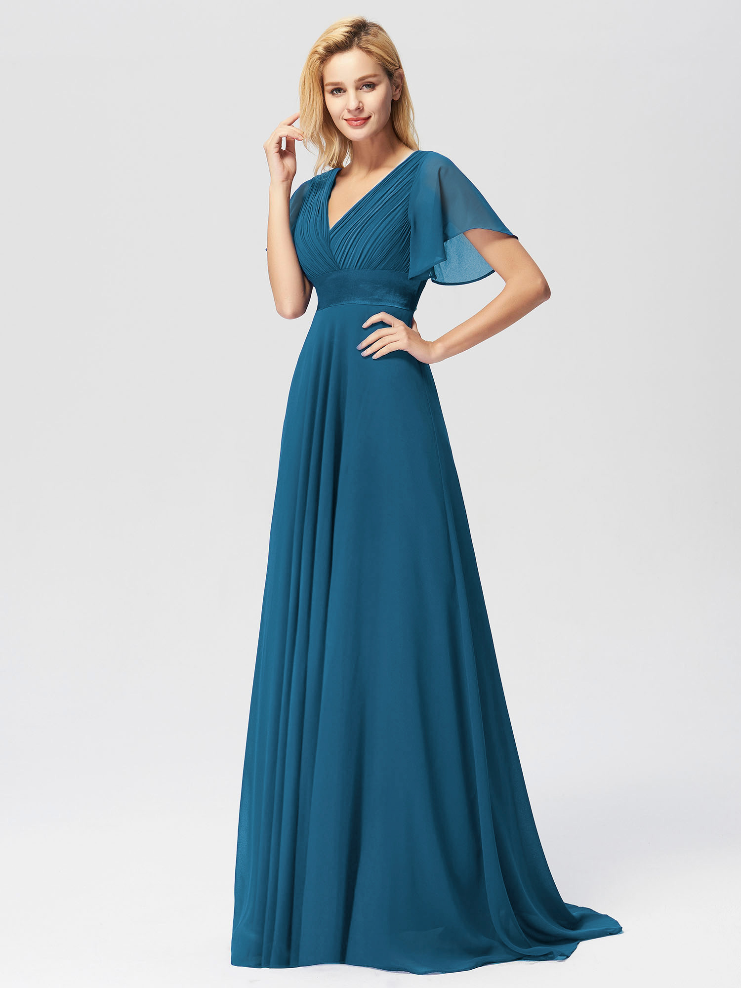 Ever-pretty-US-Short-Sleeve-Evening-Prom-Gown-Long-Formal-Cocktail-Party-Dresses thumbnail 12