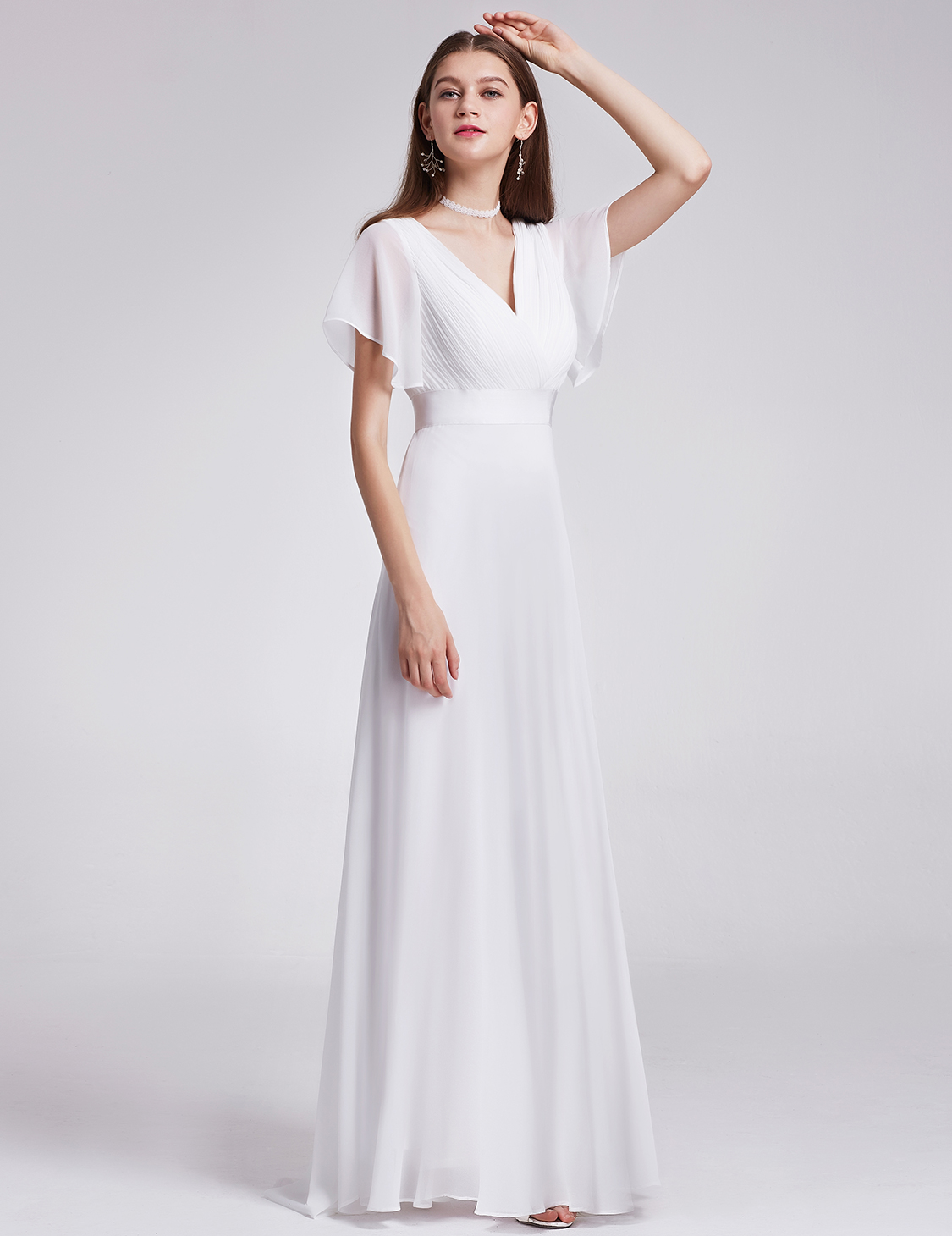 US Long White V-neck Evening Party Dresses Cocktail Prom ...