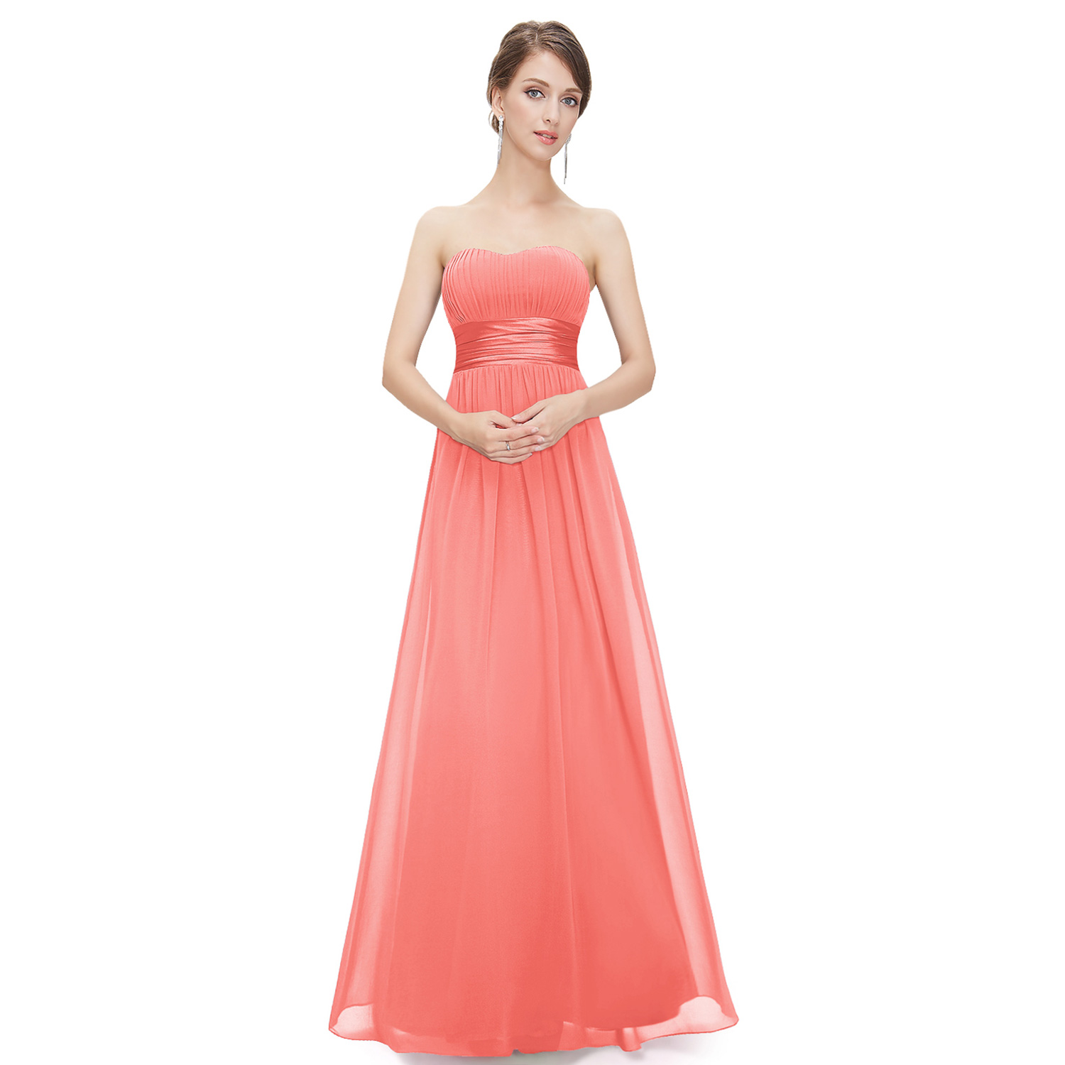 Wedding Dresses   Us : Us long chiffon strapless wedding bridesmaid dresses prom