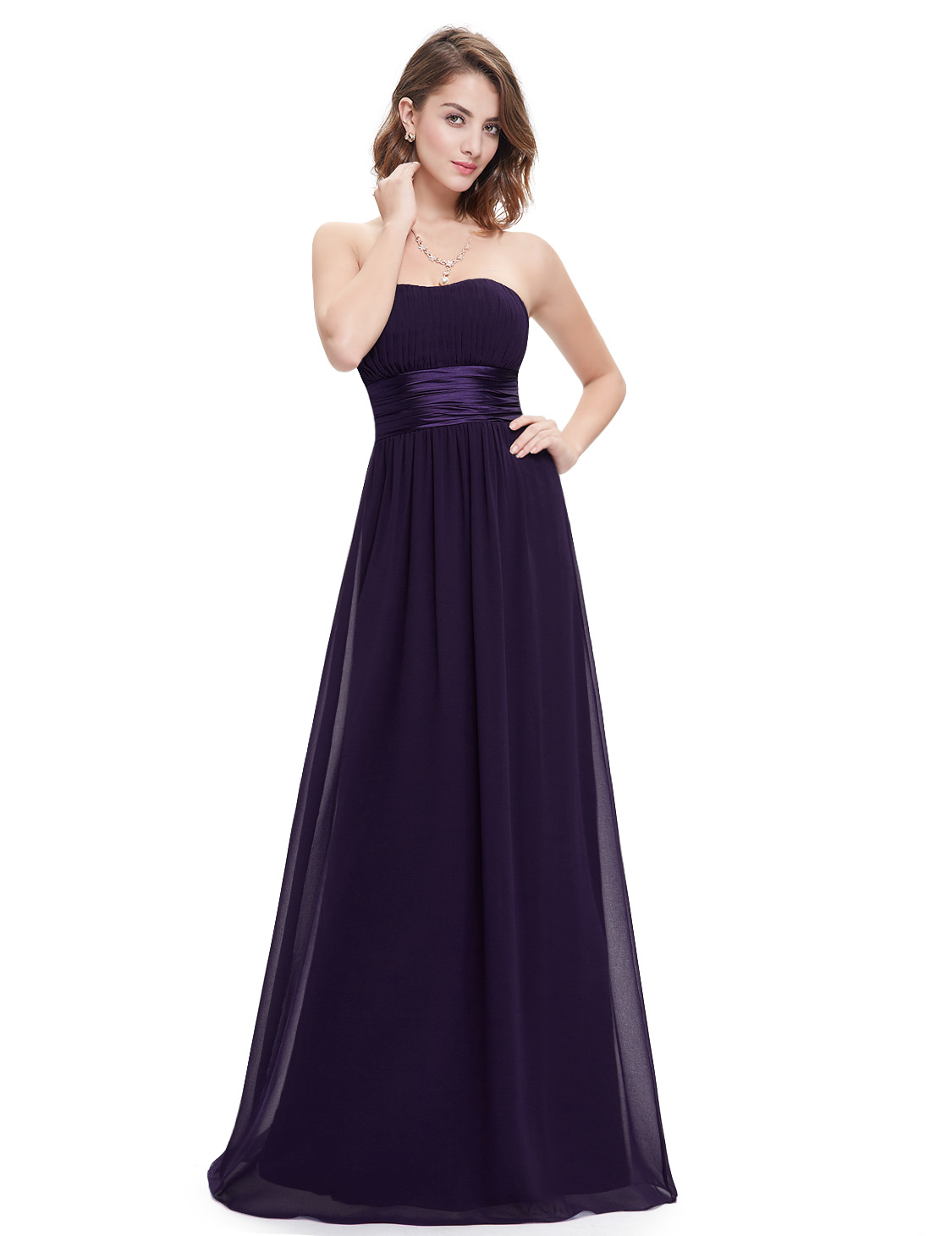 Strapless wedding ball long bridesmaid dress ball party for Ebay wedding bridesmaid dresses