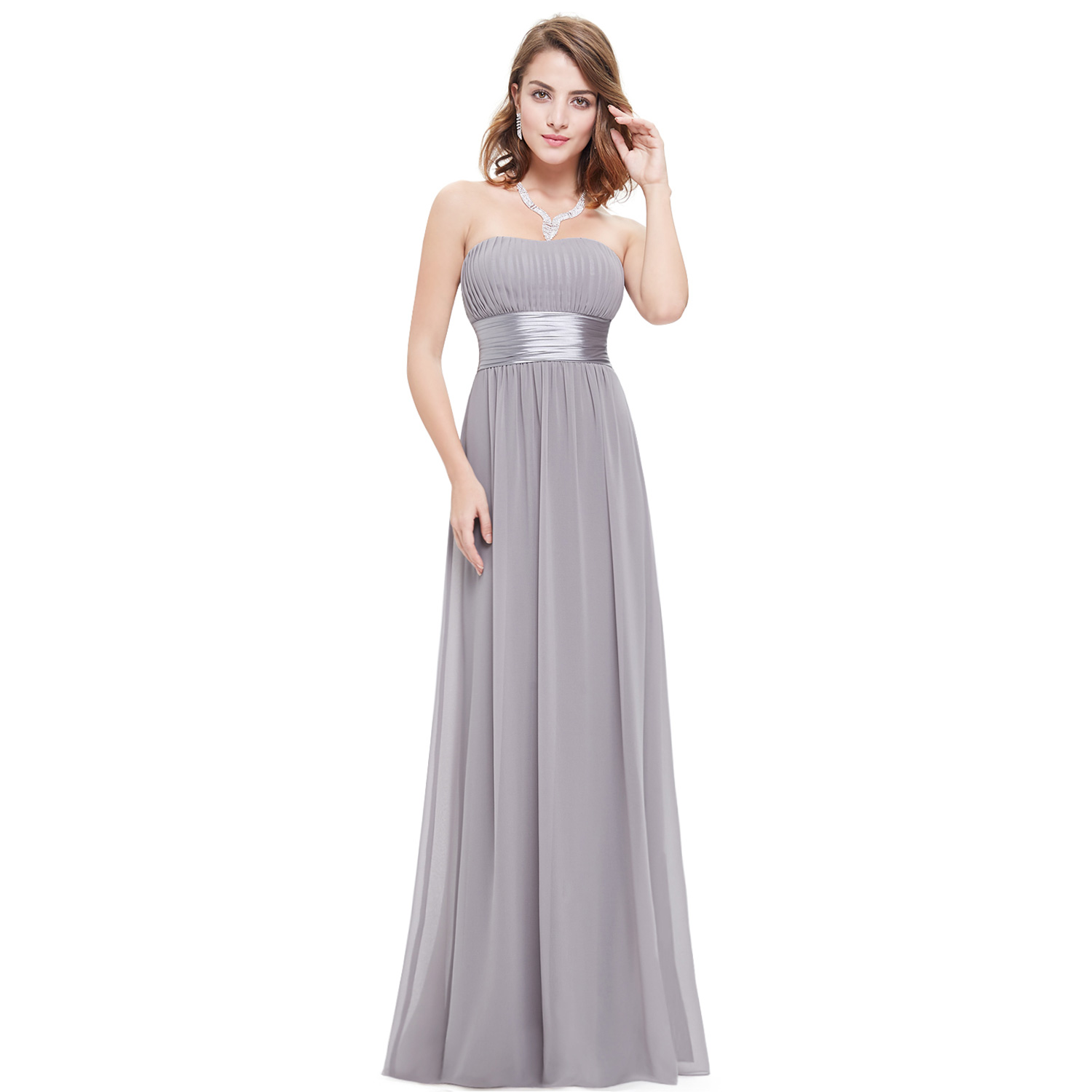 Us long chiffon wedding bridesmaid dresses prom homecoming for Strapless wedding guest dresses
