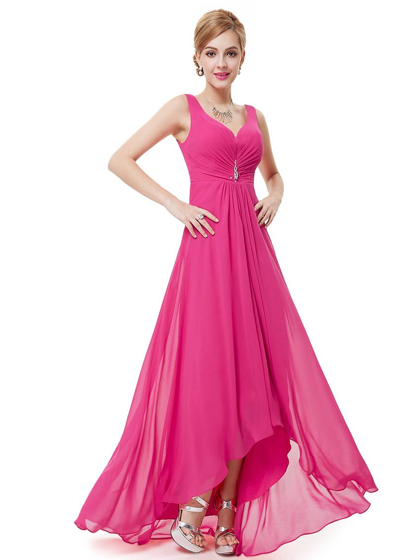 Ever-Pretty Long Prom Party Dress High Low V-Neck Bridesmaid Dresses ...