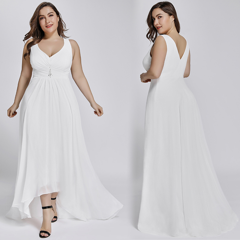 Ever-Pretty US Women Formal Wedding Dress Plus Size High-low Evening Gowns 07702