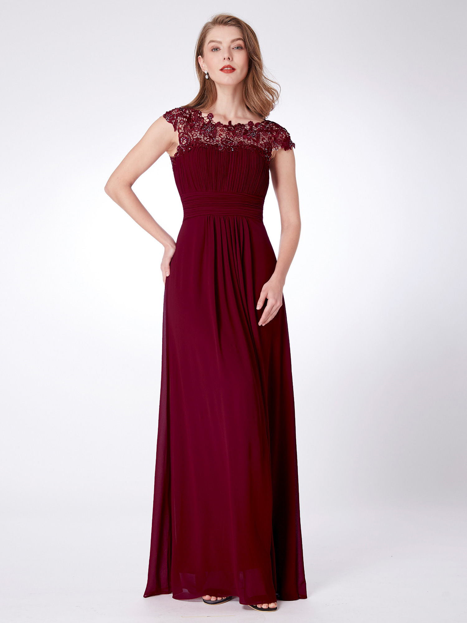 US Ever-Pretty Long Lace Evening Dresses Bridesmaid Ball Prom Gown ...