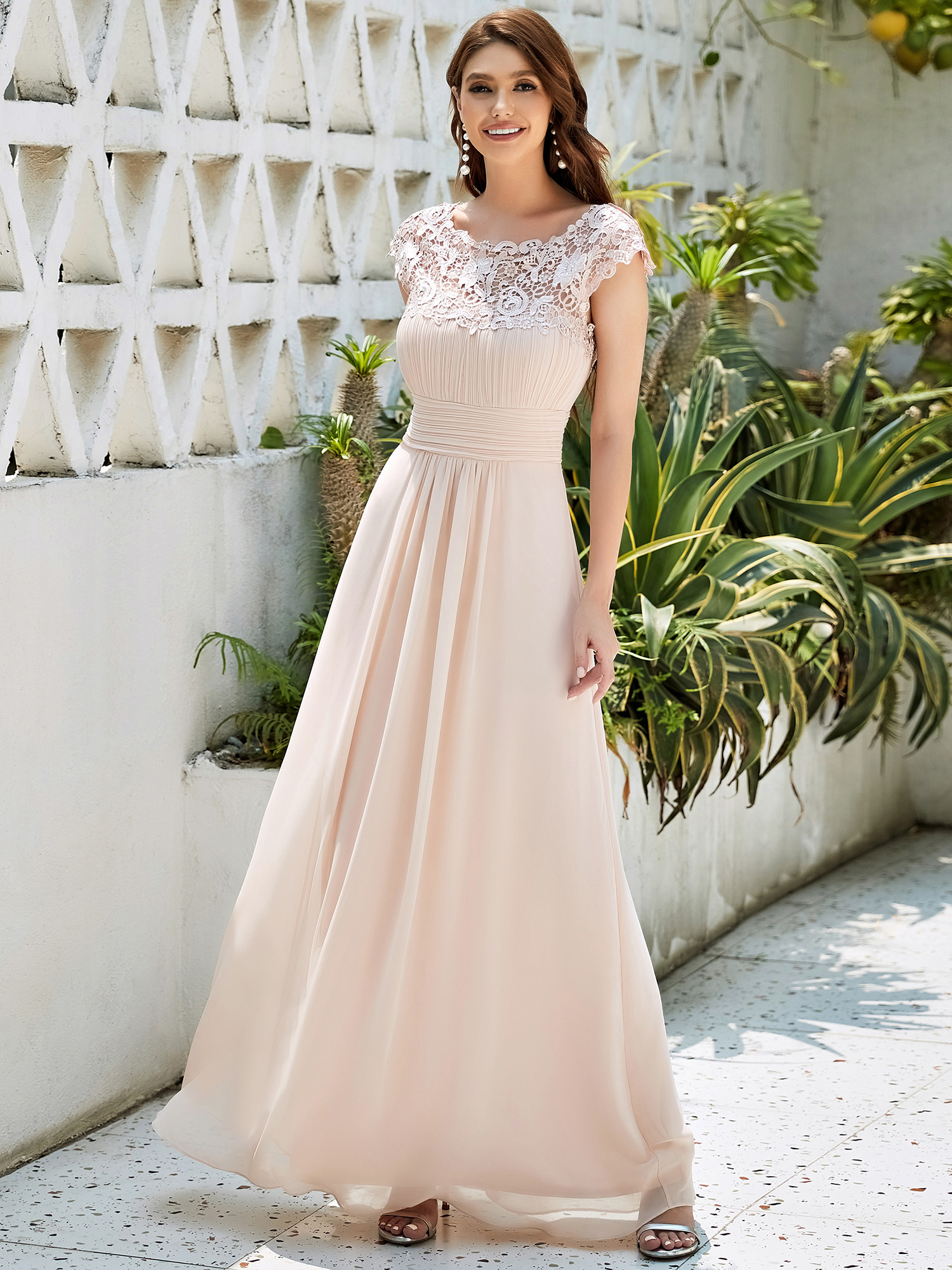 Ever Pretty Long Bridesmaid Dress Blush Lace Evening Gowns Size 10 ...