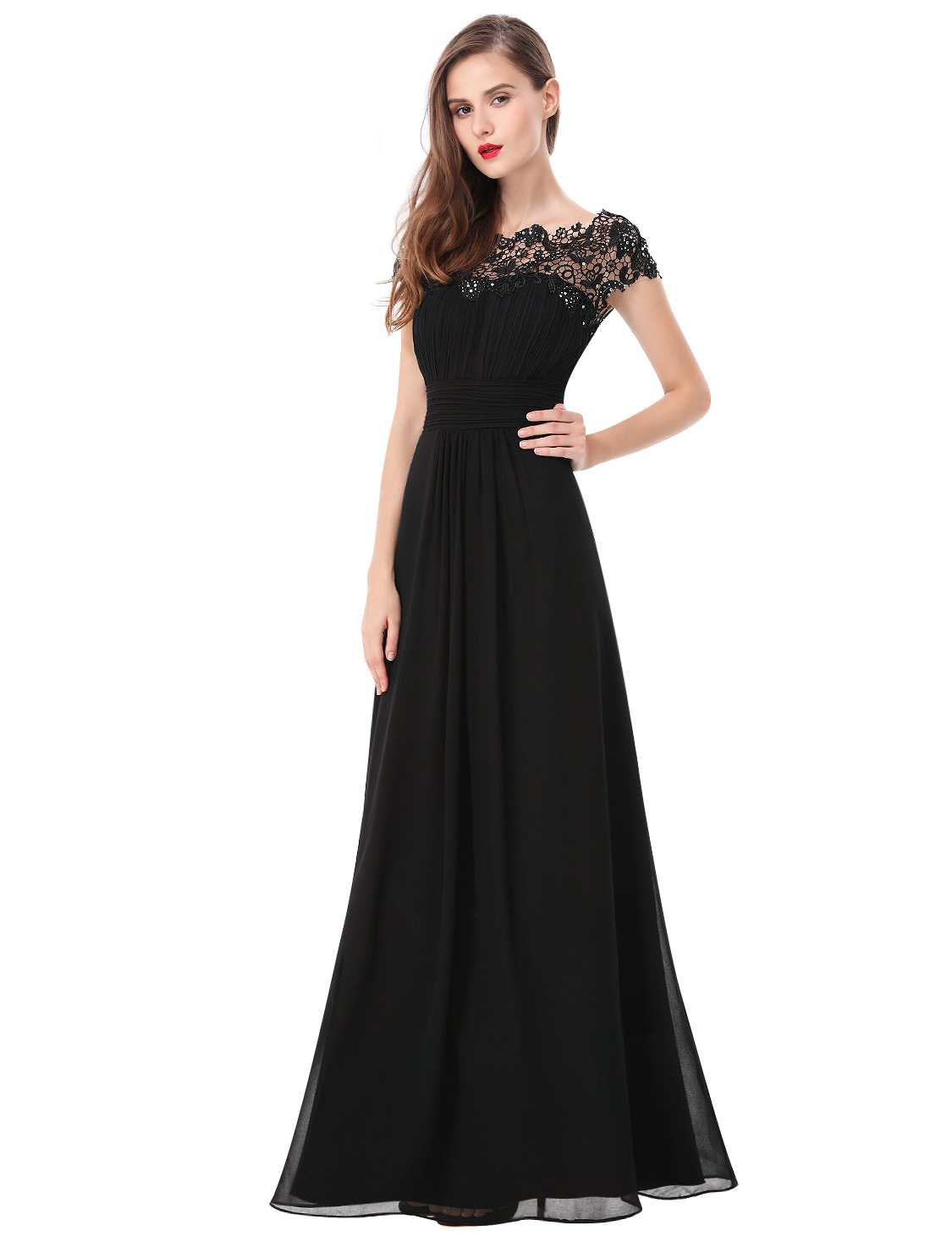 Ever-Pretty Black Short Sleeves Lace Formal Gowns Long Bridesmaid ...