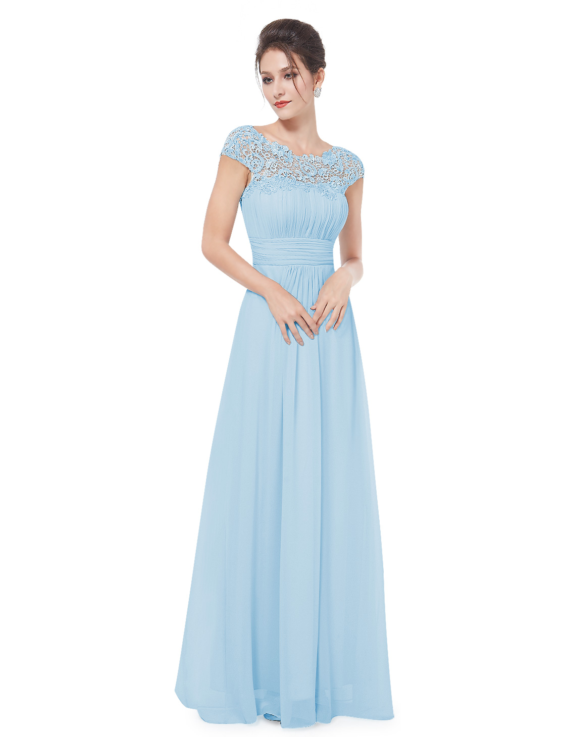 Ever-Pretty Short Sleeve Lace Long Prom Dress Bridesmaid Dress ...