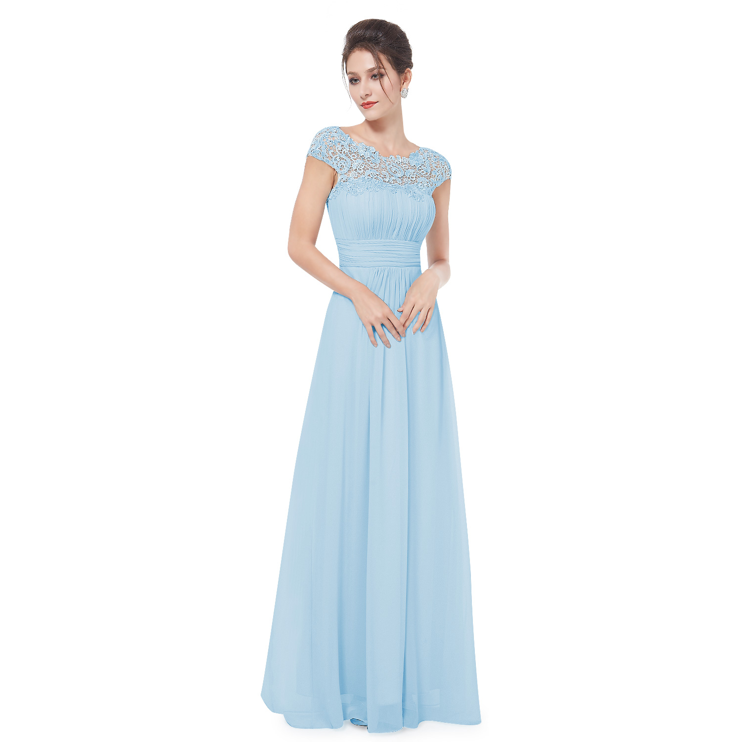 Ever-Pretty Long Cap Sleeve Lace Bridesmaid Dresses Formal Evening ...