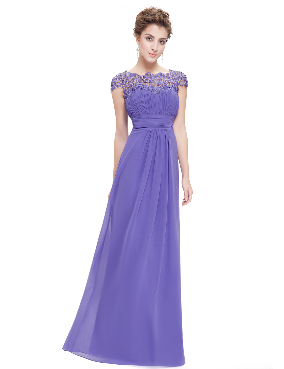 Maxi lace cap sleeve bridesmaid dresses chiffon formal for Lace maxi wedding dress