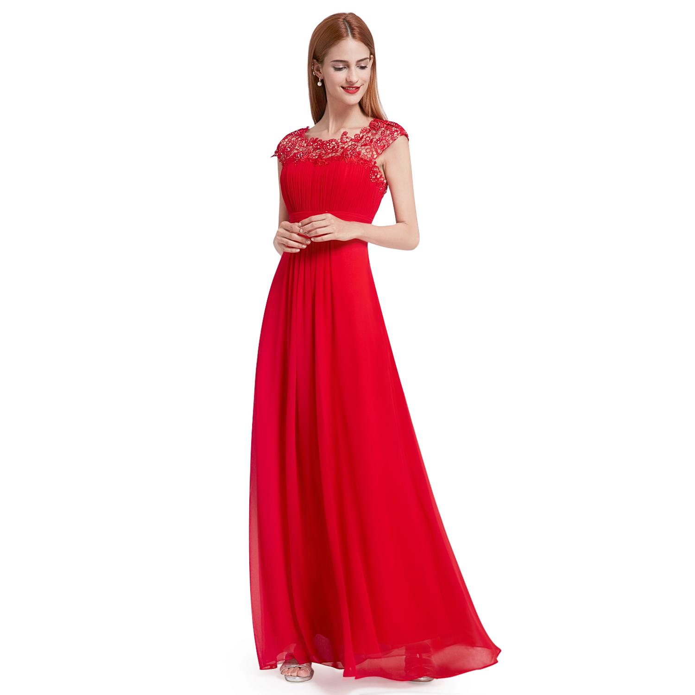 Maxi Lace Cap Sleeve Bridesmaid Dresses Chiffon Formal