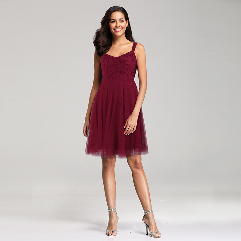 Details About Ever Pretty Burgundy A Line Gown V Neck Lace Bridesmaid Dress Knee Length 03044