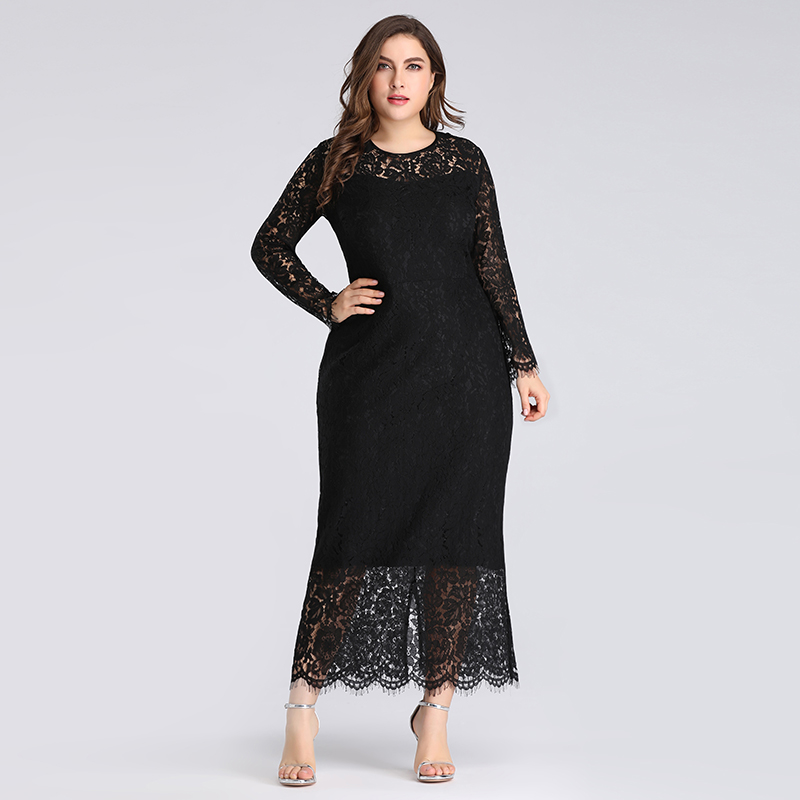 Details about Ever-pretty US Plus Size Black Lace Long Sleeve Party Dresses  Evening Prom Gowns