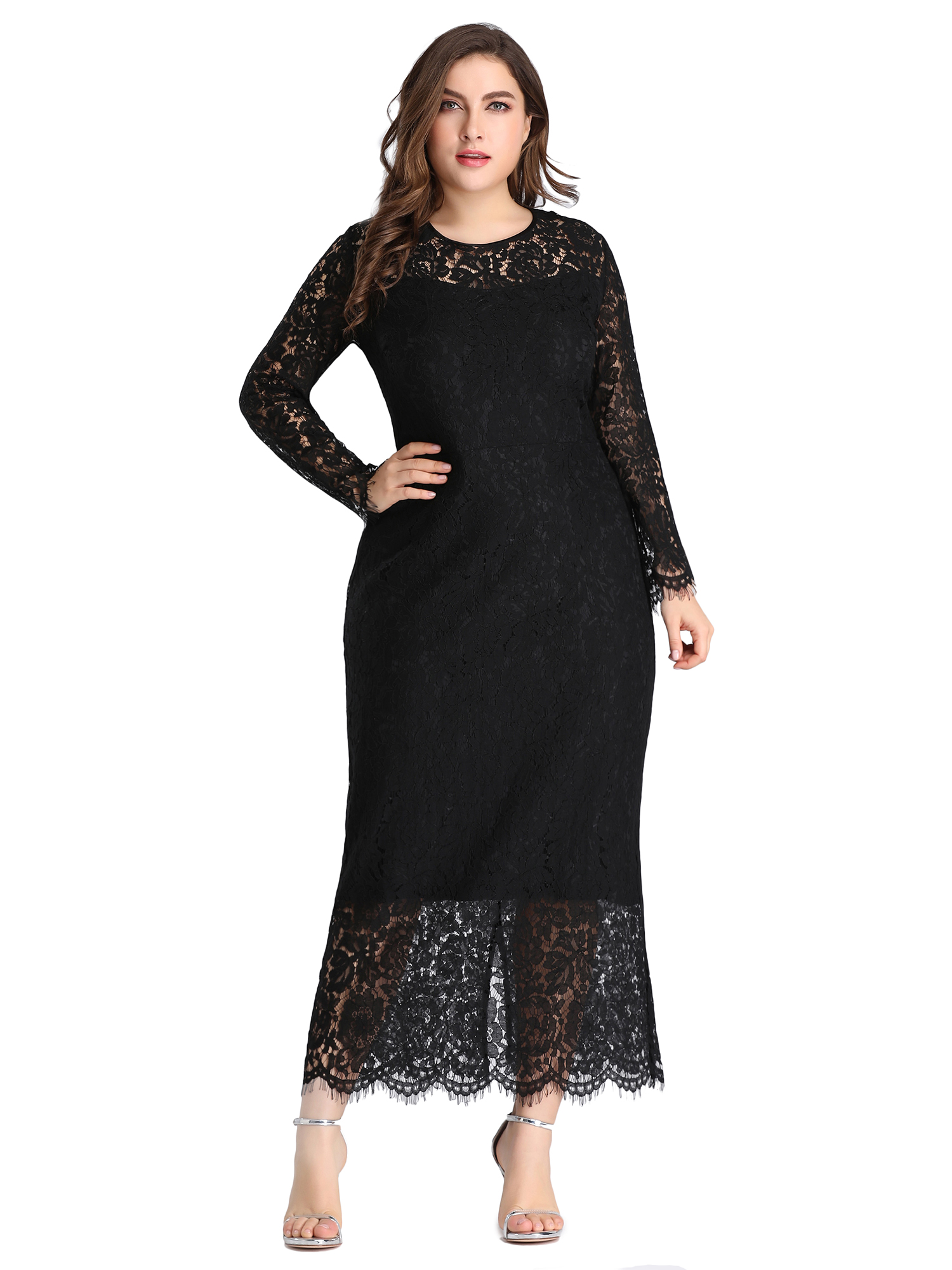 Ever-pretty-US-Plus-Size-Black-Lace-Long-Sleeve-Party-Dresses-Evening-Prom-Gowns thumbnail 8