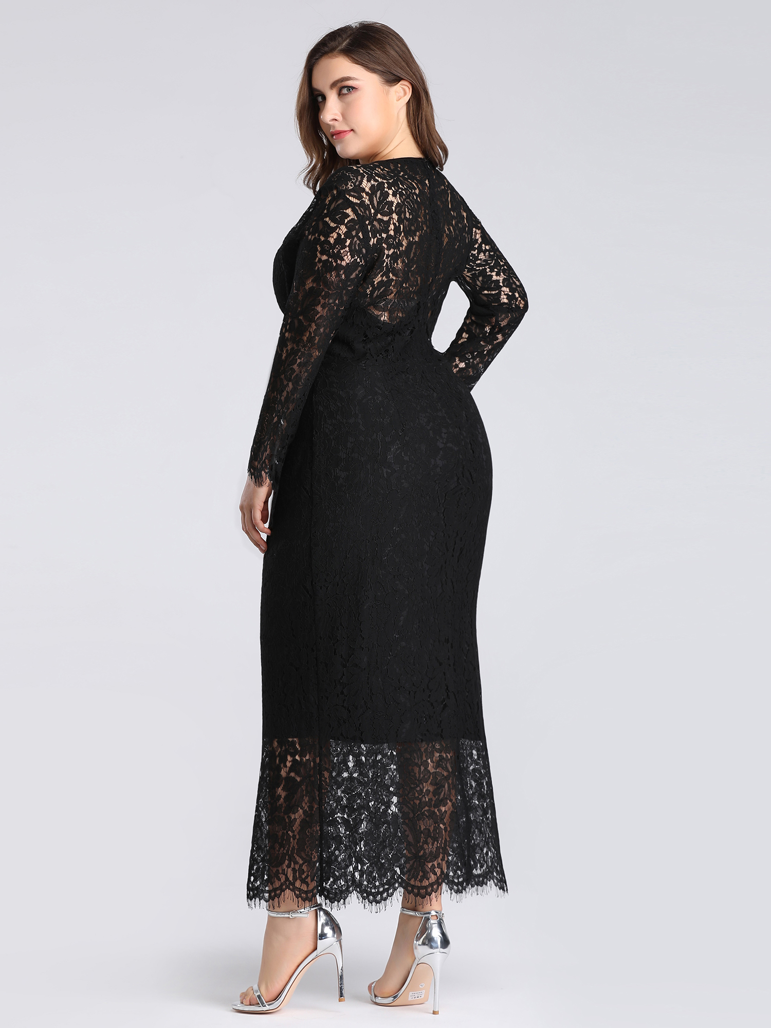 Ever-pretty-US-Plus-Size-Black-Lace-Long-Sleeve-Party-Dresses-Evening-Prom-Gowns thumbnail 9