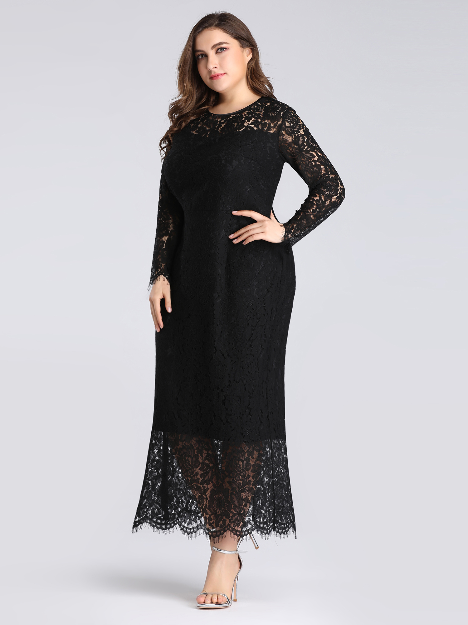 Ever-pretty-US-Plus-Size-Black-Lace-Long-Sleeve-Party-Dresses-Evening-Prom-Gowns thumbnail 10