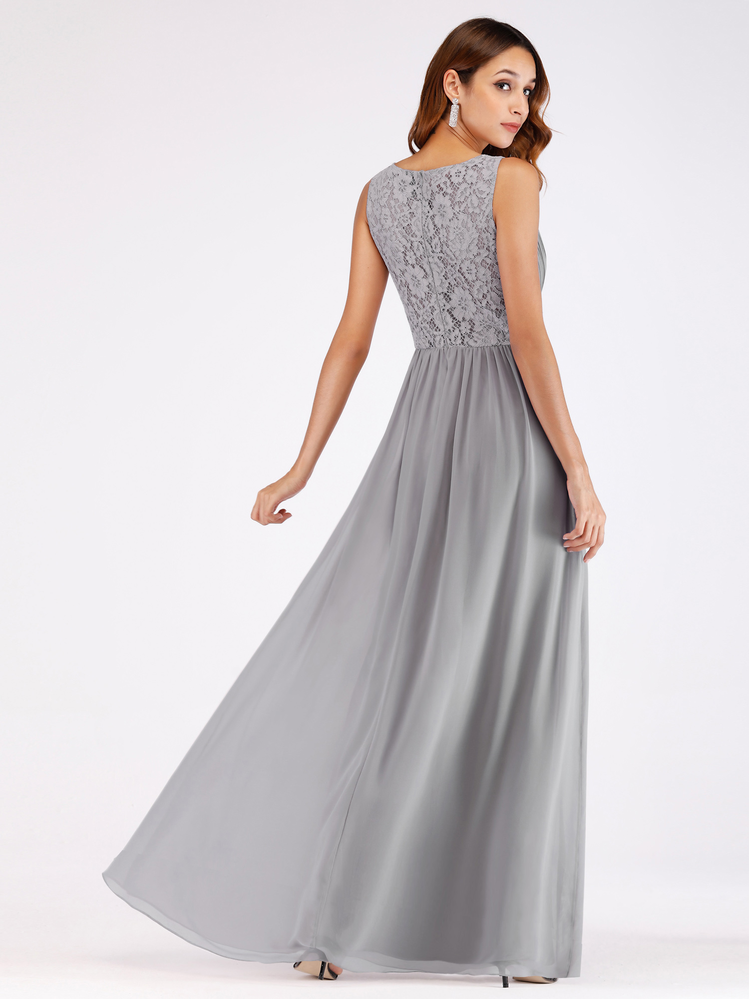 Ever-Pretty-V-Neck-Chiffon-Party-Dresses-Long-A-Line-Bridesmaid-Dress-Grey-07549 thumbnail 7