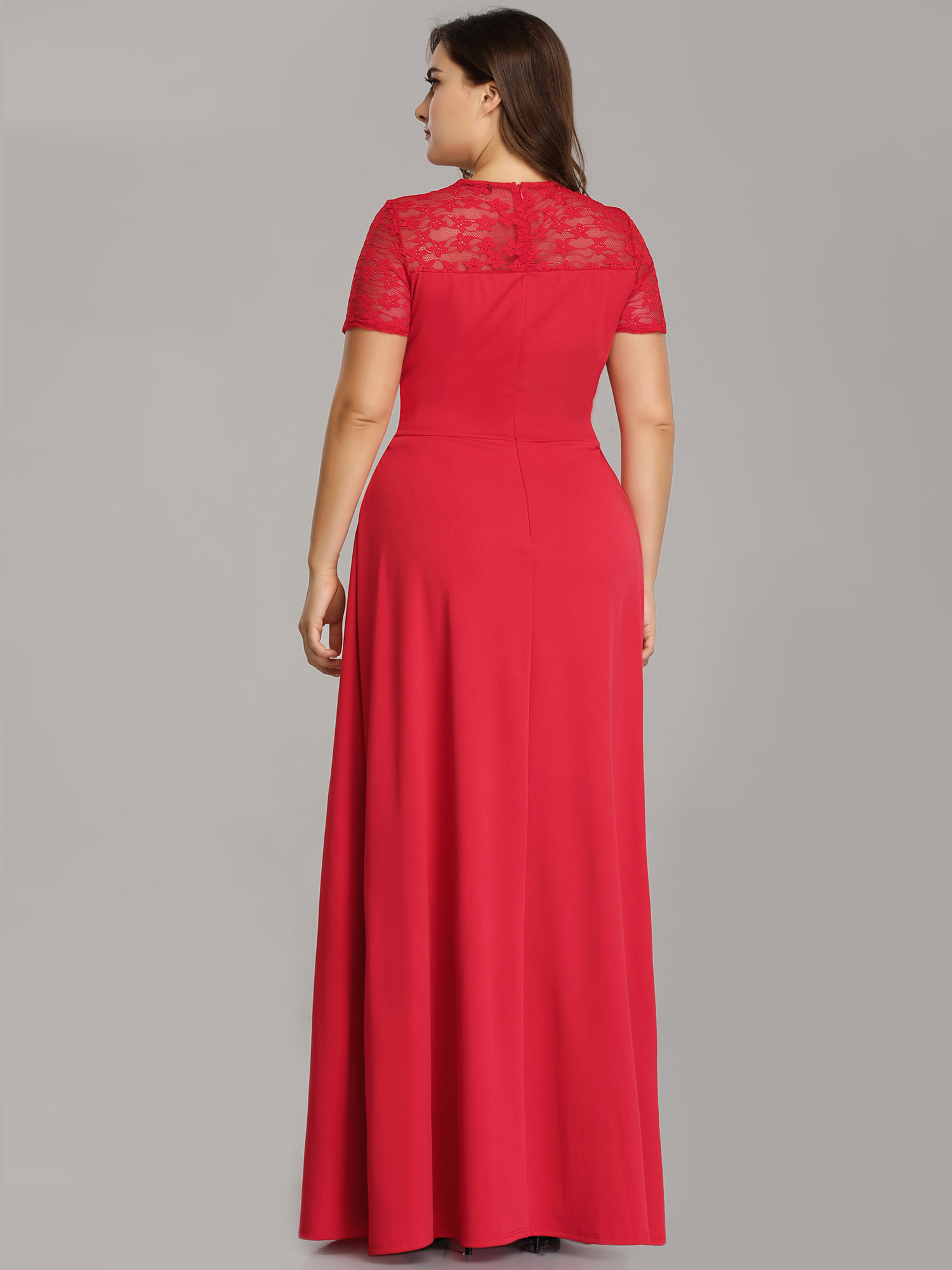 Women-A-Line-V-Neck-Red-Dress-Plus-Size-Formal-Evening-Mother-of-the-Bride-Prom thumbnail 9