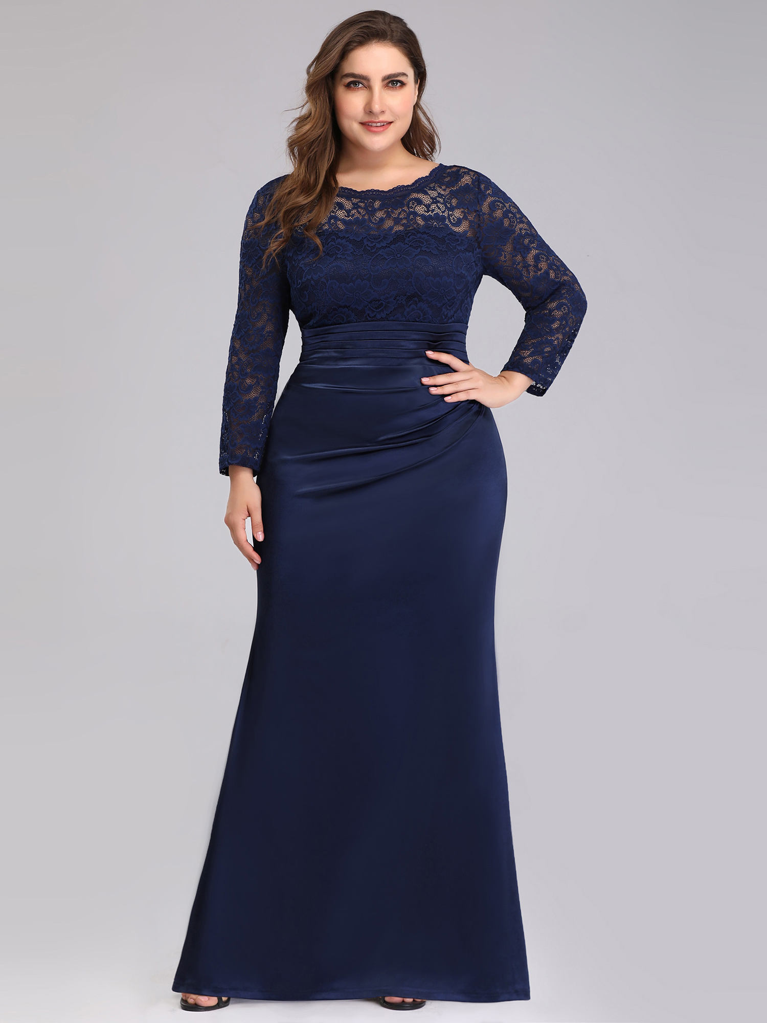 eb42616f0b1c2 Ever-Pretty Womens Plus Size Lace Long Sleeve Navy Blue Formal Evening Prom  Party Dress