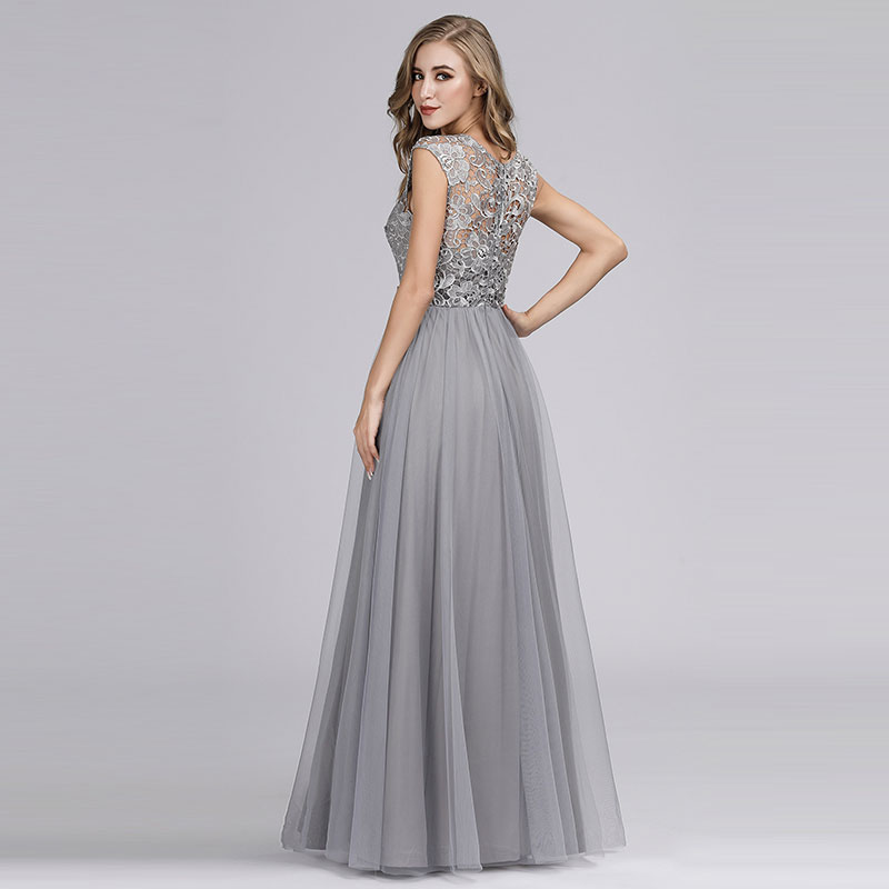 Ever-Pretty Mesh Lace A-Line Bridesmaid Dress Long Cocktail Prom Gowns 07788