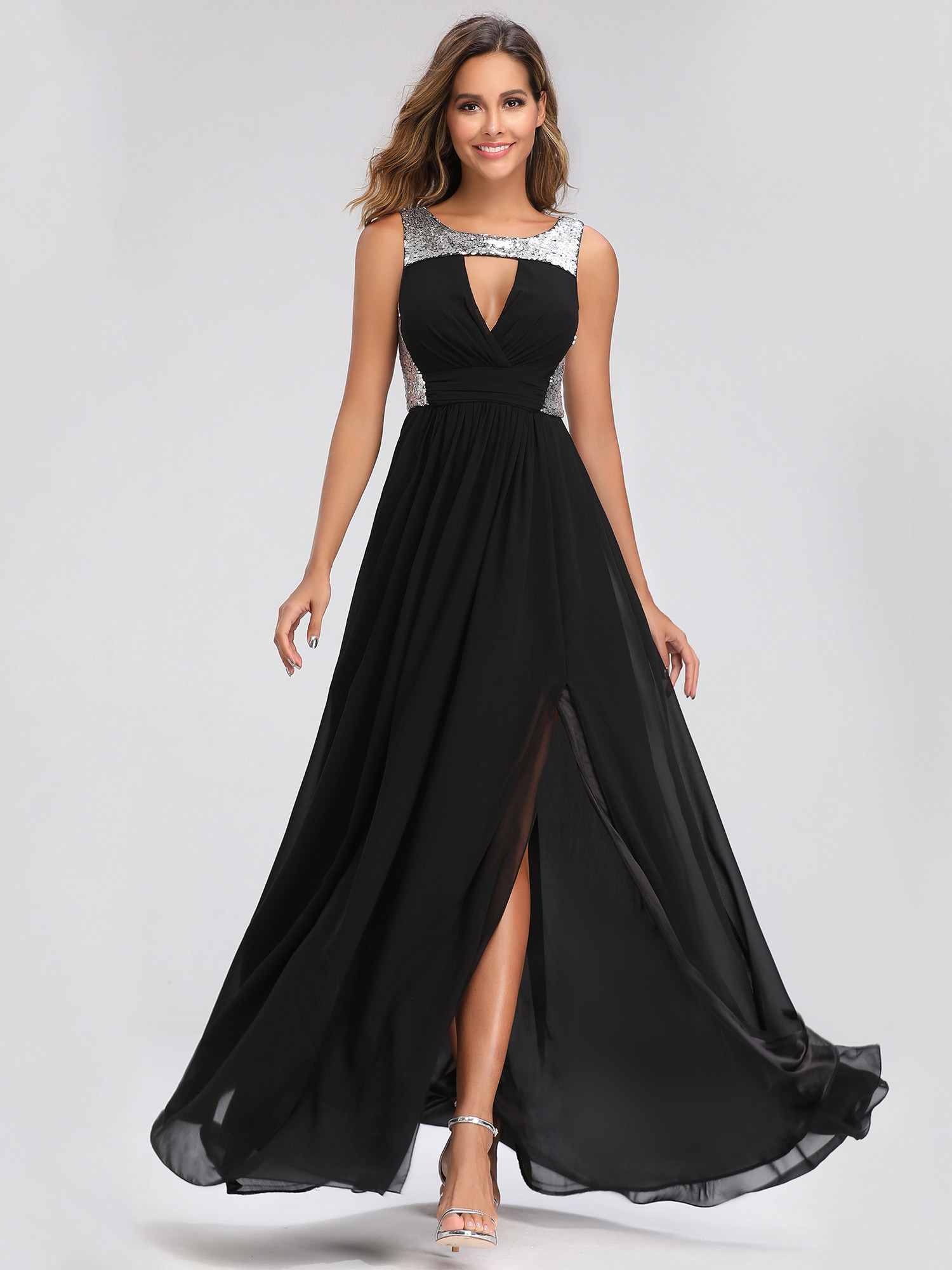 d83510ee69f Details about Ever-Pretty V-neck Long Sequins Prom Dresses Formal Evening  Party Dress Cocktail