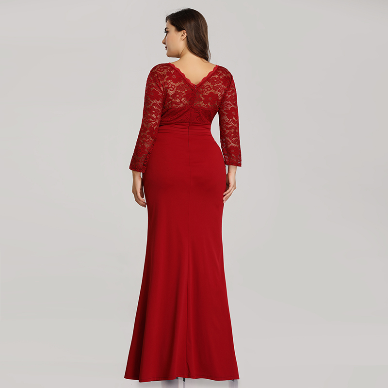 Ever-Pretty-Plus-Size-Long-Formal-Cocktail-Gown-Lace-Fishtail-Party-Prom-Dress thumbnail 4