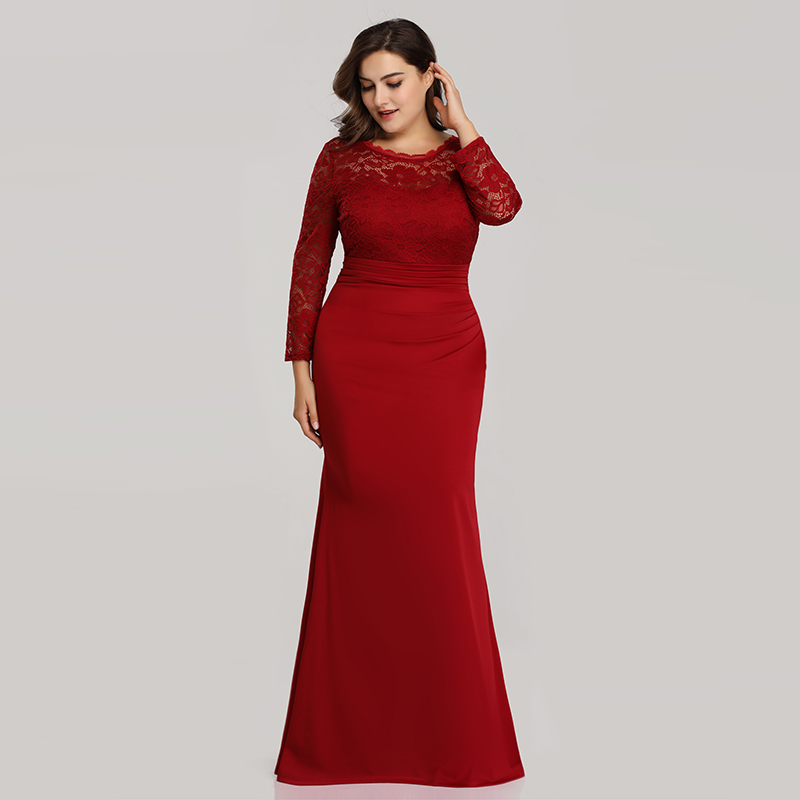 Ever-Pretty-Plus-Size-Long-Formal-Cocktail-Gown-Lace-Fishtail-Party-Prom-Dress thumbnail 5