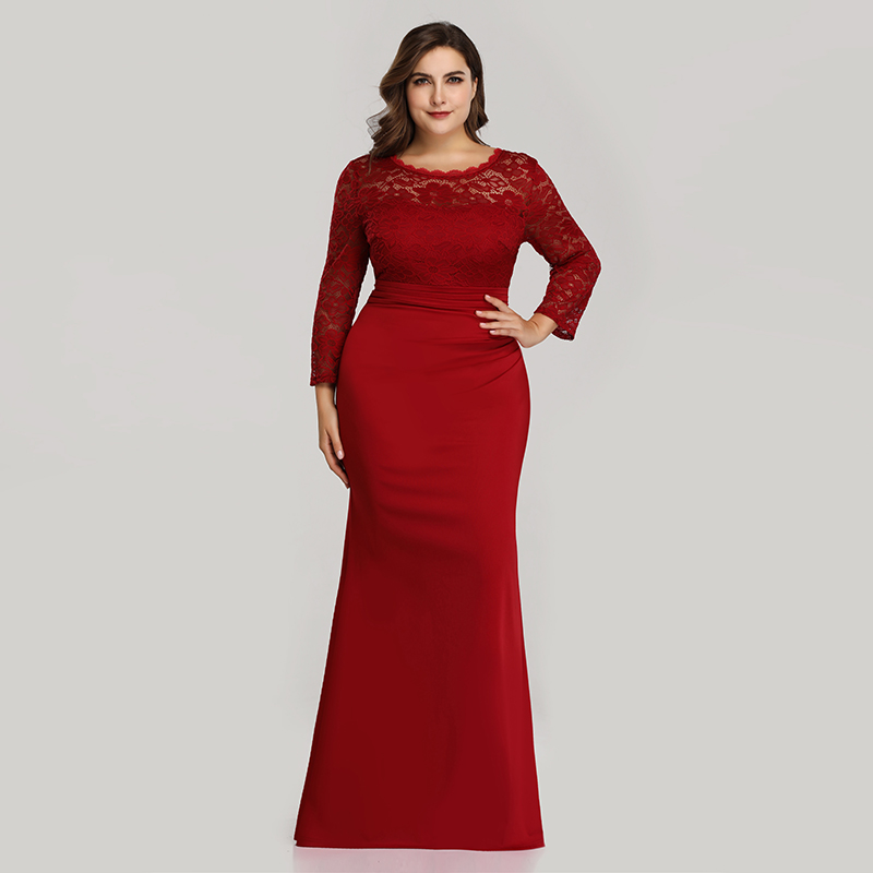 Ever-Pretty-Plus-Size-Long-Formal-Cocktail-Gown-Lace-Fishtail-Party-Prom-Dress thumbnail 6