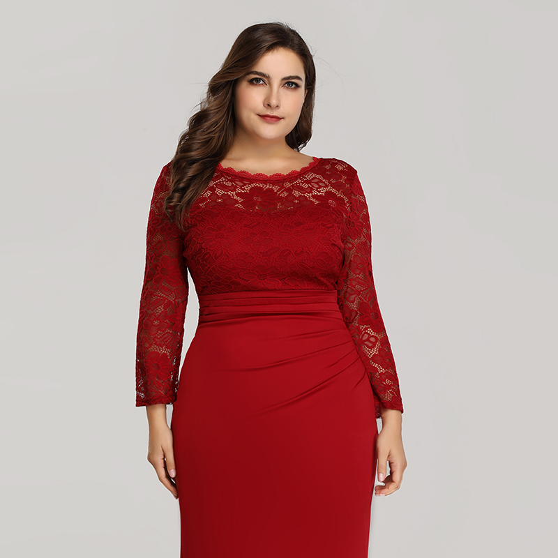 Ever-Pretty-Plus-Size-Long-Formal-Cocktail-Gown-Lace-Fishtail-Party-Prom-Dress thumbnail 7