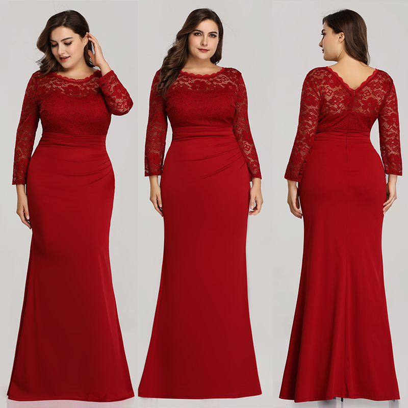 Ever-Pretty-Plus-Size-Long-Formal-Cocktail-Gown-Lace-Fishtail-Party-Prom-Dress