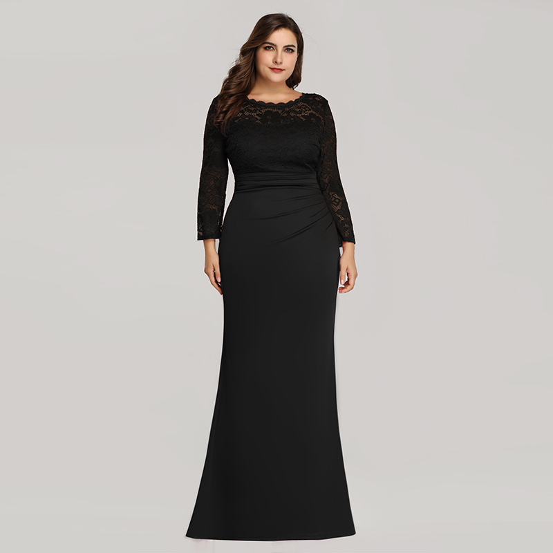 Details about Ever-pretty US Black Formal Mother Of Bride Dress Plus Size  Mermaid Evening Gown