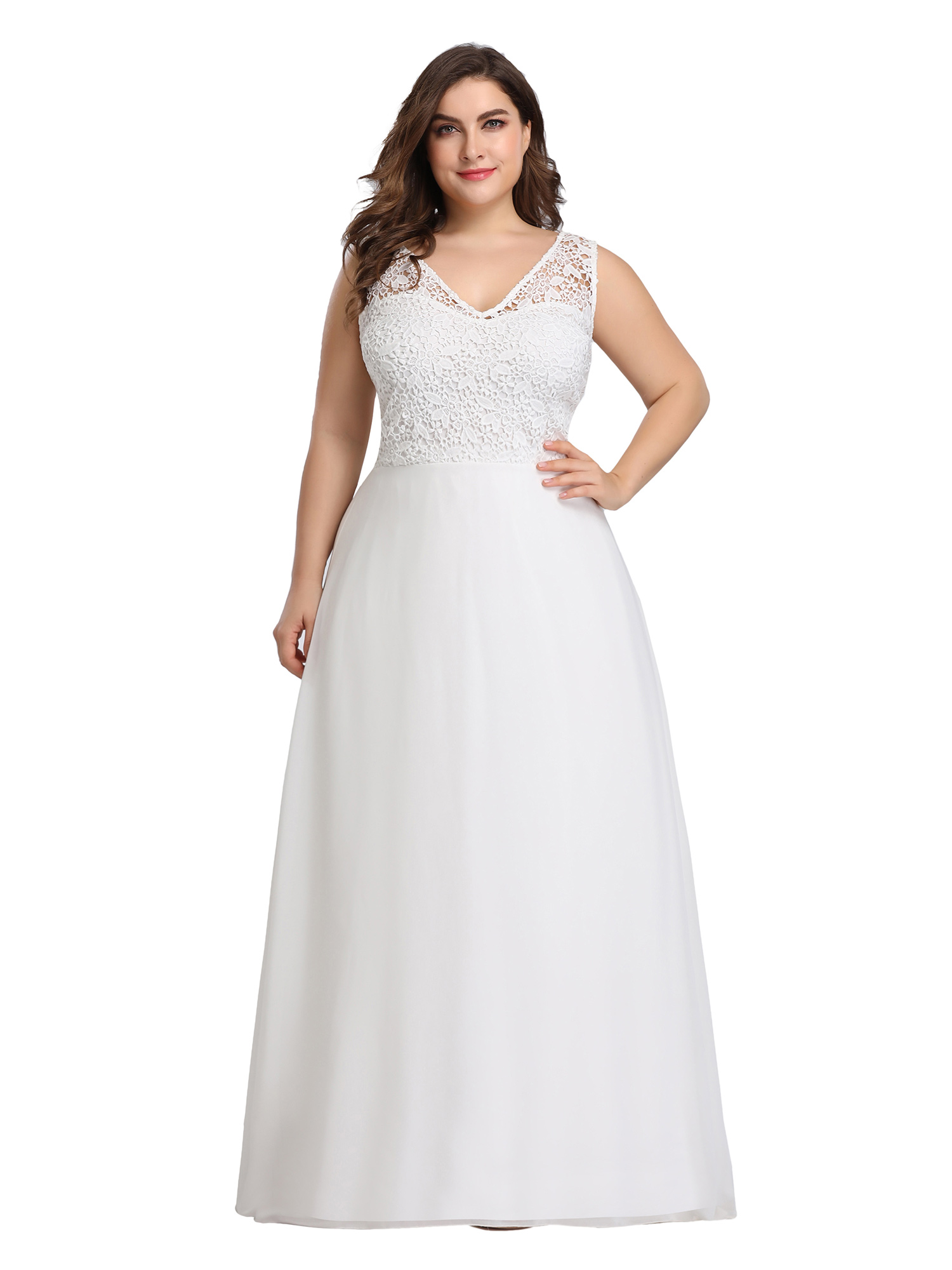 8516b0cb86ed Ever-pretty US White Lace Plus Size Formal Evening Gowns Homecoming ...
