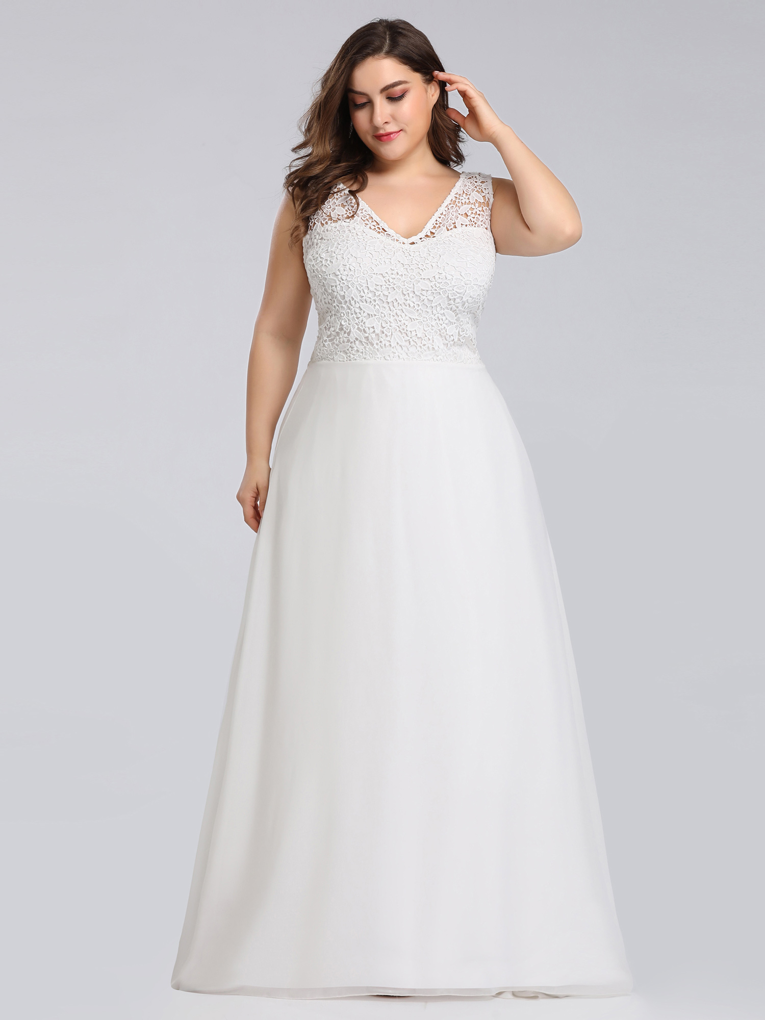 Ever-pretty US White Lace Plus Size Formal Evening Gowns Homecoming ...