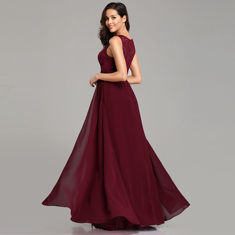 Ever-Pretty-Long-Burgundy-Bridesmaid-Dresses-Sleeveless-Party-Formal-Gown-07695 thumbnail 4