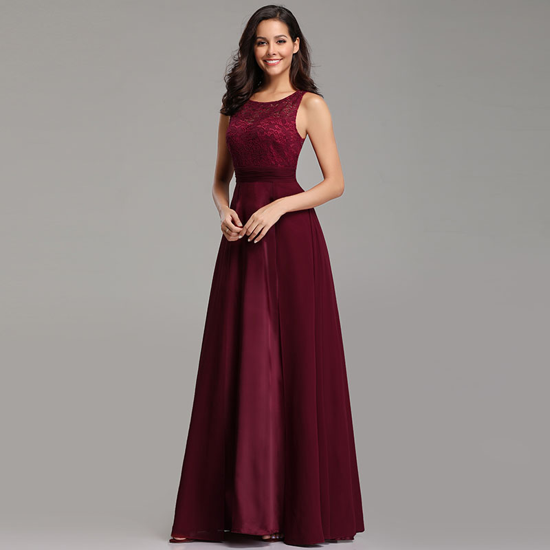 Ever-Pretty-Long-Burgundy-Bridesmaid-Dresses-Sleeveless-Party-Formal-Gown-07695 thumbnail 5