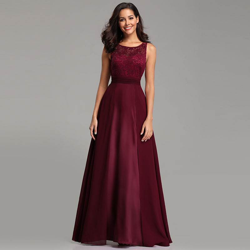 Ever-Pretty-Long-Burgundy-Bridesmaid-Dresses-Sleeveless-Party-Formal-Gown-07695 thumbnail 6