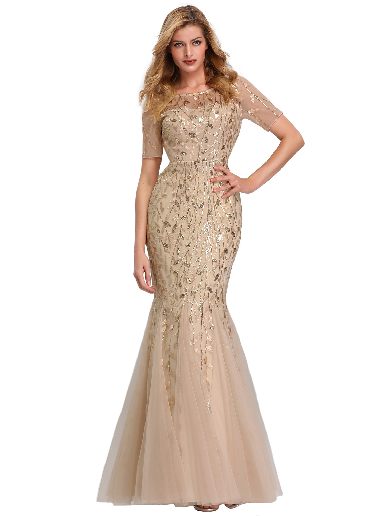 Ever-pretty-Plus-Size-Sequins-Bridesmaid-Dresses-Mermaid-Evening-Party-Prom-Gown thumbnail 30