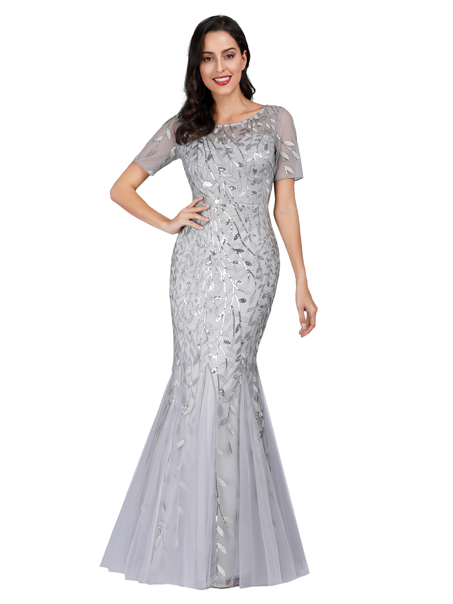 Ever-pretty-Plus-Size-Sequins-Bridesmaid-Dresses-Mermaid-Evening-Party-Prom-Gown thumbnail 40