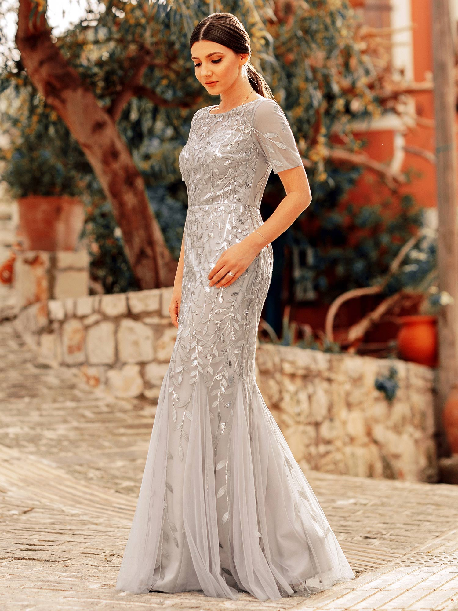Ever-pretty-Plus-Size-Sequins-Bridesmaid-Dresses-Mermaid-Evening-Party-Prom-Gown thumbnail 41