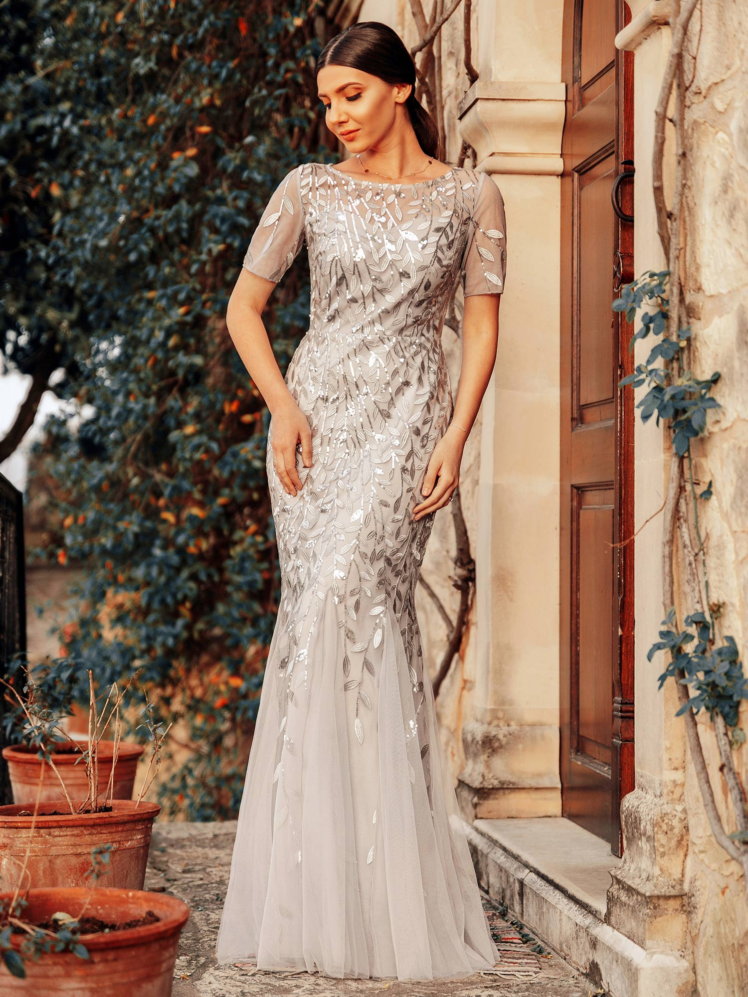 Ever-pretty-Plus-Size-Sequins-Bridesmaid-Dresses-Mermaid-Evening-Party-Prom-Gown thumbnail 42